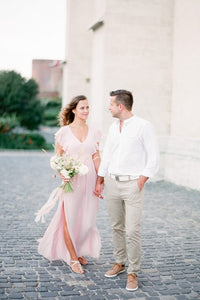 Sexy V-Neck Short Sleeves Floor-Length Slit Chiffon Bridal Gown Wedding Dress
