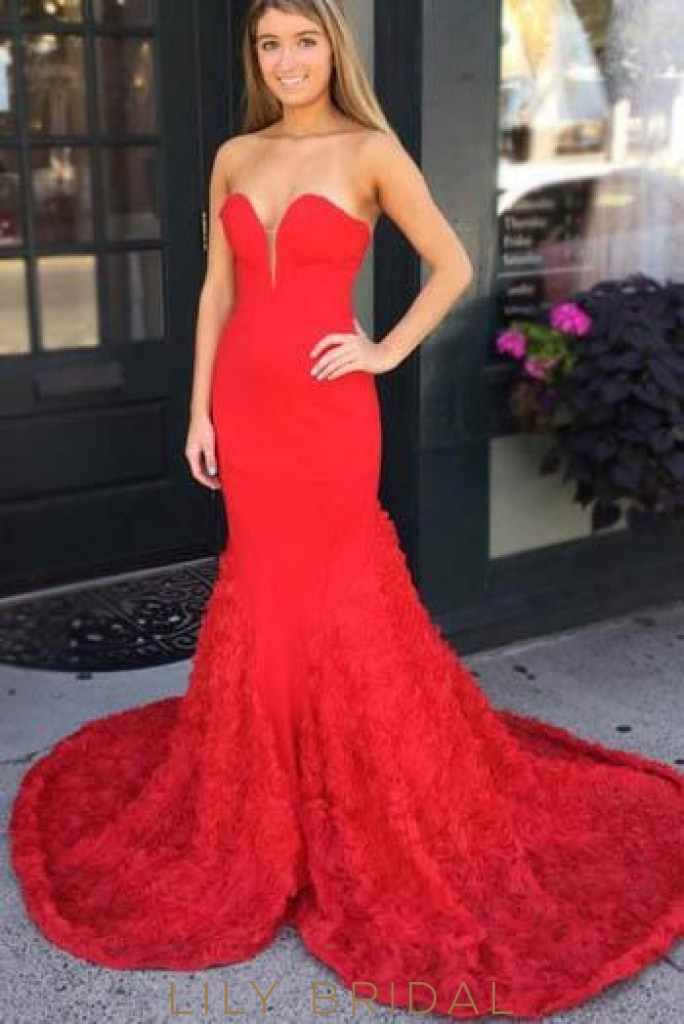 Red Backless Sweetheart Strapless Mermaid Prom Dress With Court Train