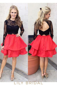 Red Black Lace Taffeta Jewel Long Sleeves A-line Cocktail Dress