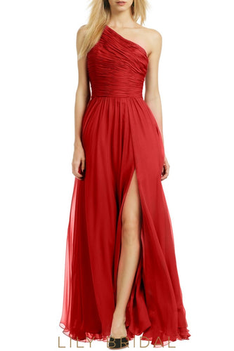 Red Chiffon One-Shoulder A-Line Floor Length Split Bridesmaid Dress with Slit