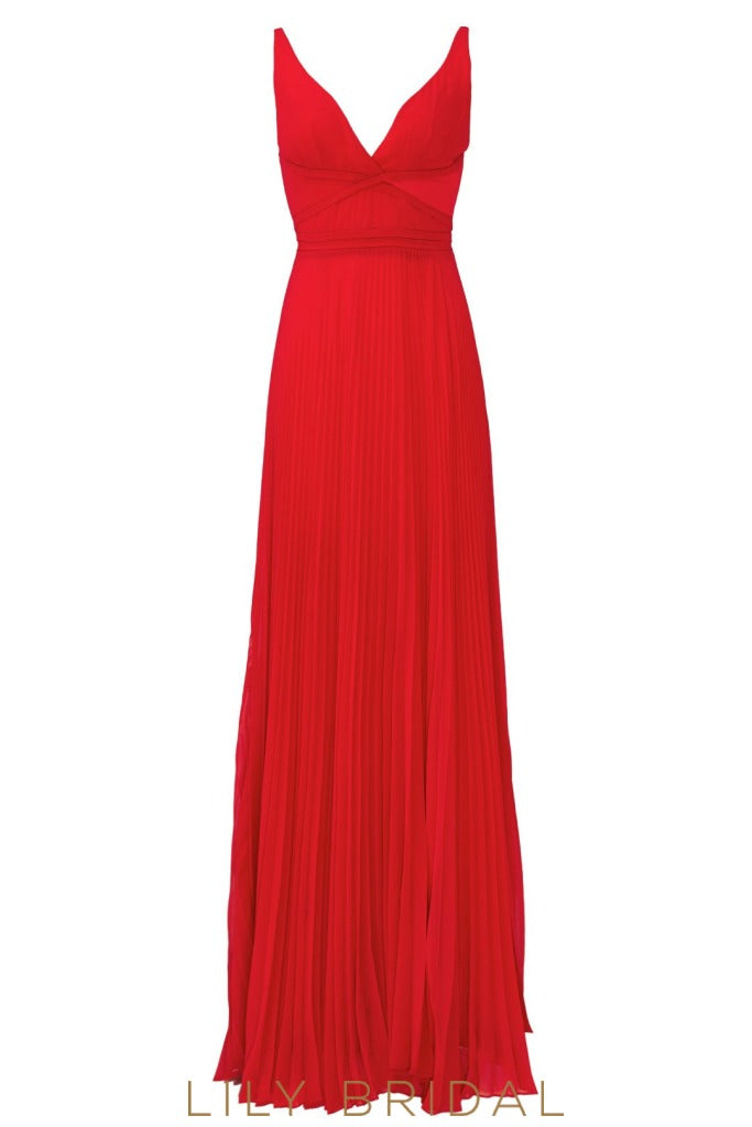 Red Chiffon Sleeveless V-Neckline Backless Floor Length Bridesmaid Dress