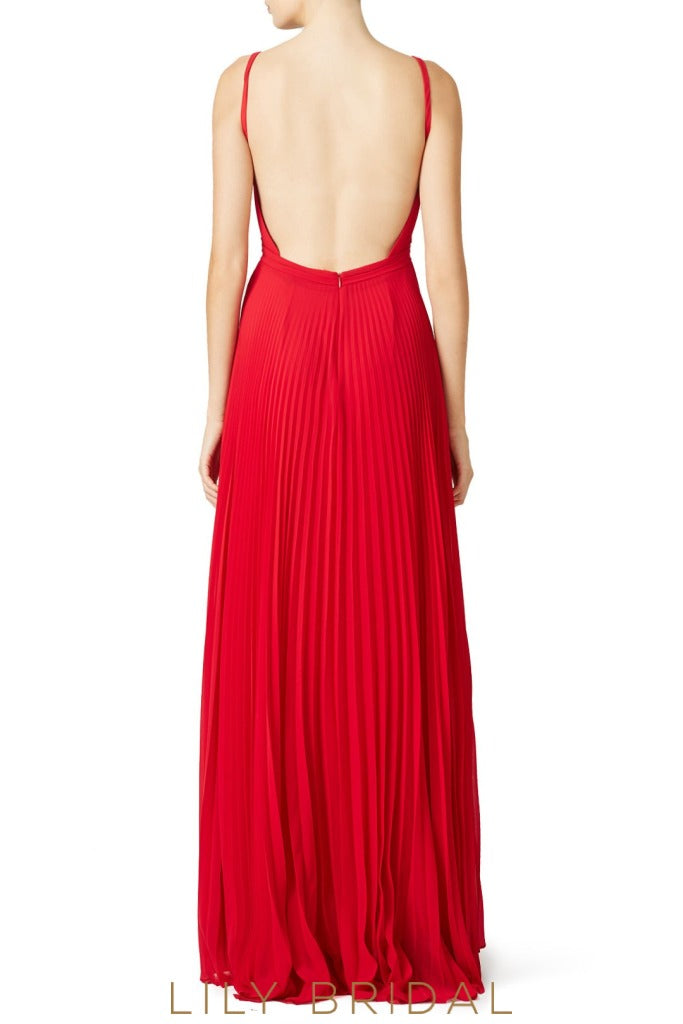 Red Chiffon V-Neckline Backless Floor Length Bridesmaid Dress