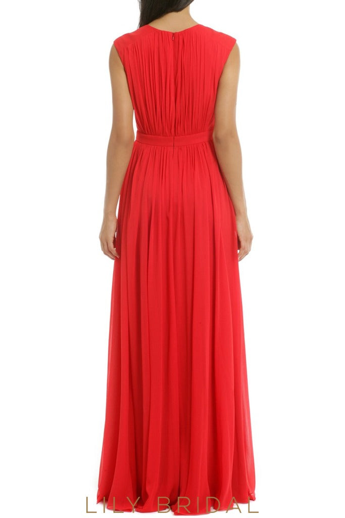 V-Neck Sleeveless A-Line Floor-Length Red Bridesmaid Dress With Slit