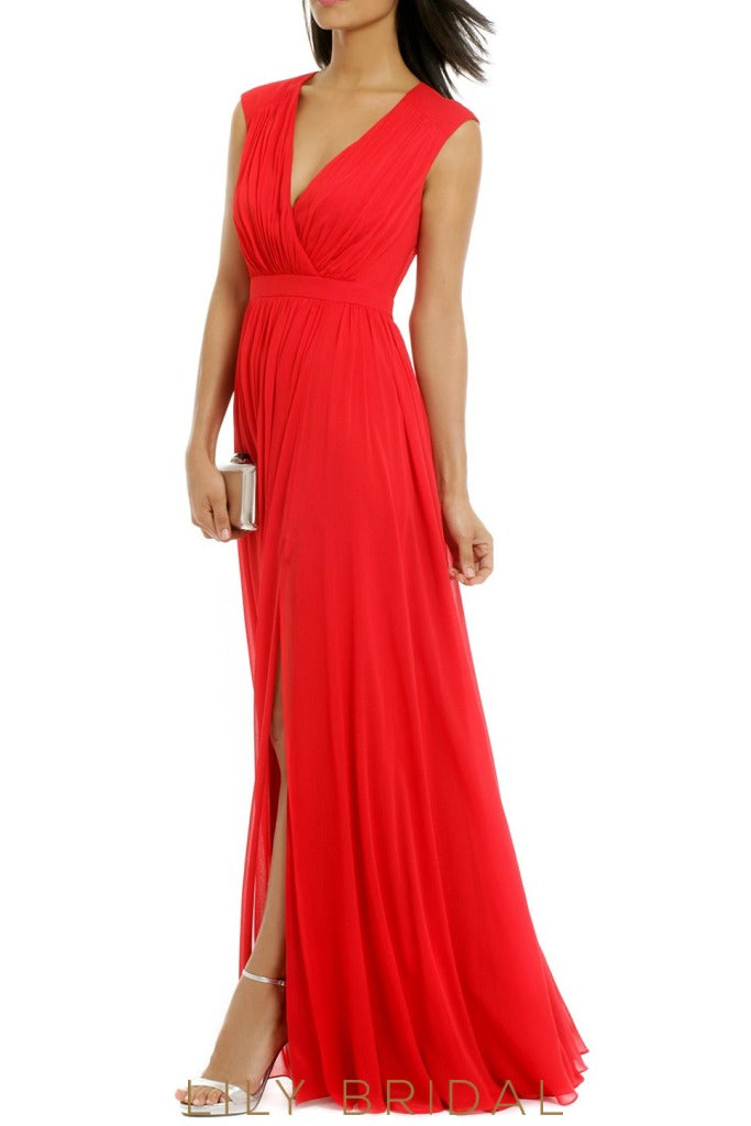 V-Neck Sleeveless A-Line Floor-Length Red Chiffon Bridesmaid Dress With Slit