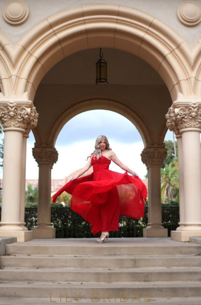 Red Chiffon One-Shoulder A-Line Floor Length Bridesmaid Dress with Slit