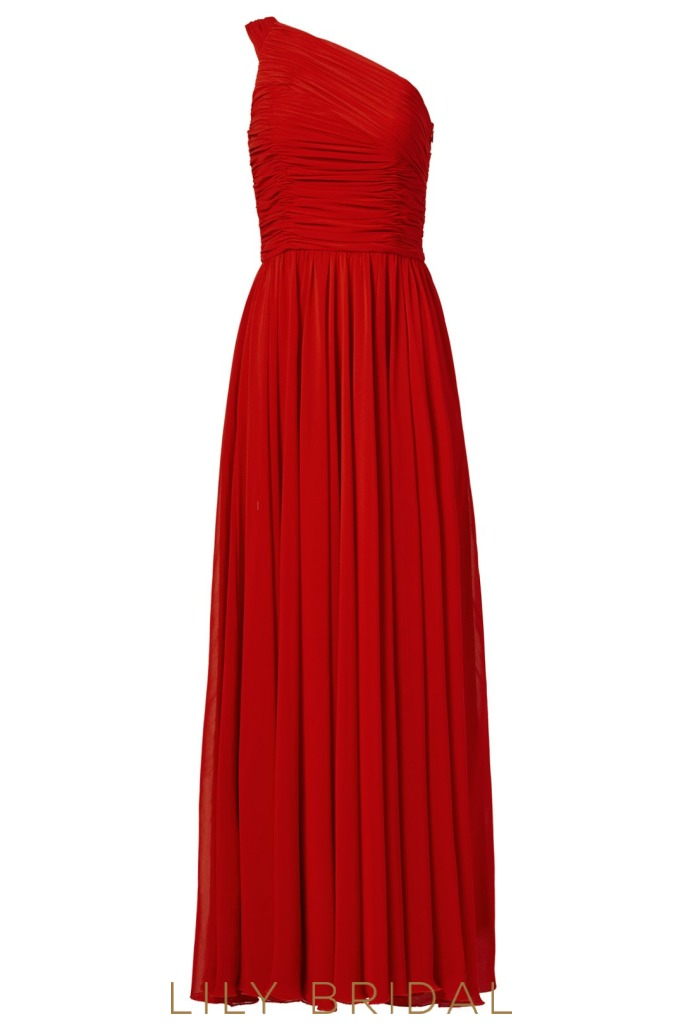 Red Chiffon One-Shoulder A-Line Floor Length Split Bridesmaid Dress