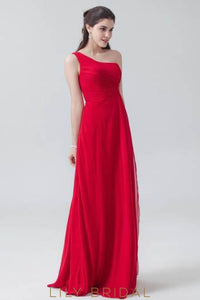 Red Chiffon One-Shoulder Sweep Train Bridesmaid Dress With Ruched Bodice
