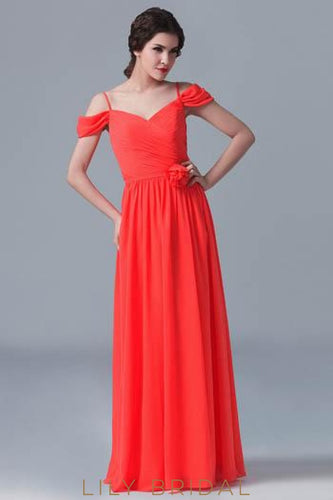 Red Chiffon Spaghetti Strap Floor-Length Bridesmaid Dress With Ruched Bodice