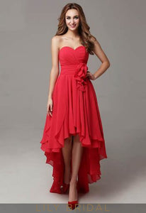 Red Chiffon Sweetheart Strapless High-Low Evening Dress With Ruffles