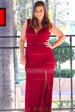 Red Deep V-Neck Floor-Length Plus Size Chiffon Evening Dress With Slit