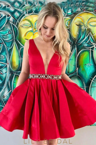 Red Satin A-line Plunging V-Neckline Cocktail Dress with Beaded Waistband