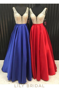 Satin Plunging V-Neck Sleeveless Open Back A-Line Floor-Length Prom Dress With Beaded Bodice