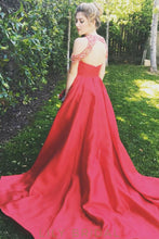Red Satin Jewel Neckline Off-the-shoulder Keyhole Overskirt Prom Dress