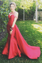 Red Satin Jewel Neckline Off-the-shoulder Keyhole Back Mermaid Overskirt Prom Dress