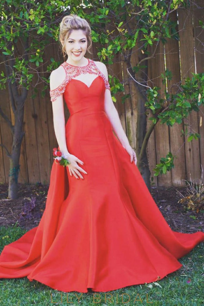 Red Satin Jewel Neckline Keyhole Back Mermaid Overskirt Prom Dress