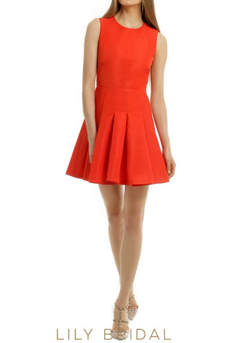 Red Satin Jewel Neckline Sleeveless Short Length A-Line Bridesmaid Dress