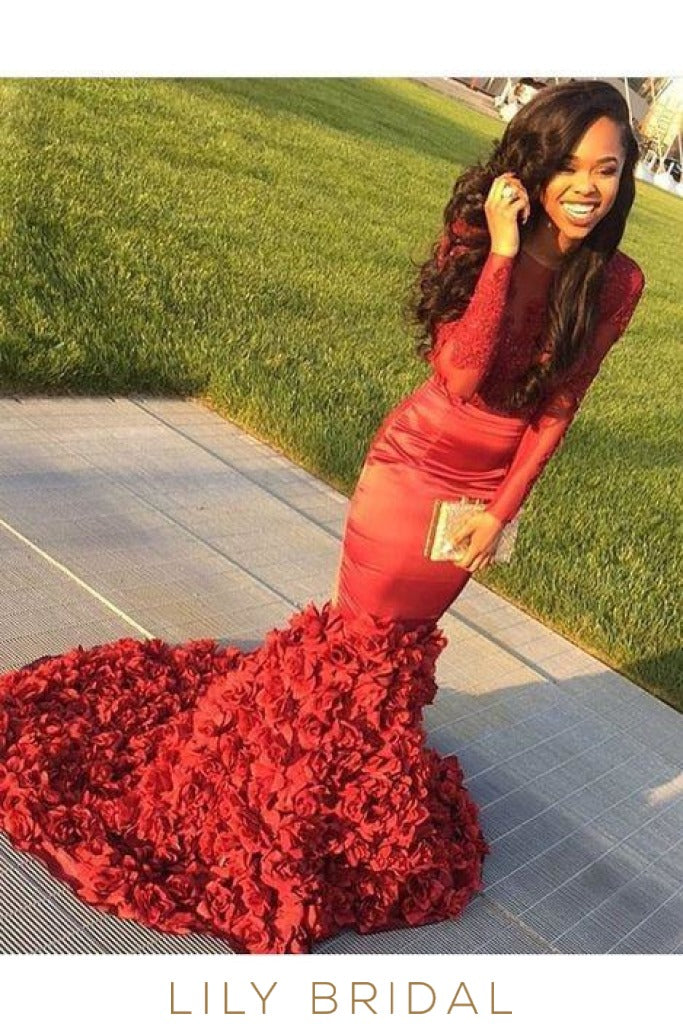 Red Satin Jewel Neckline Long Sleeve Floral Mermaid Prom Dress with Court Train