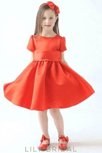 Red Satin Short Sleeve Jewel Neck Knee-Length Flower Girl Dress With Bowknot Back Detail Dresses