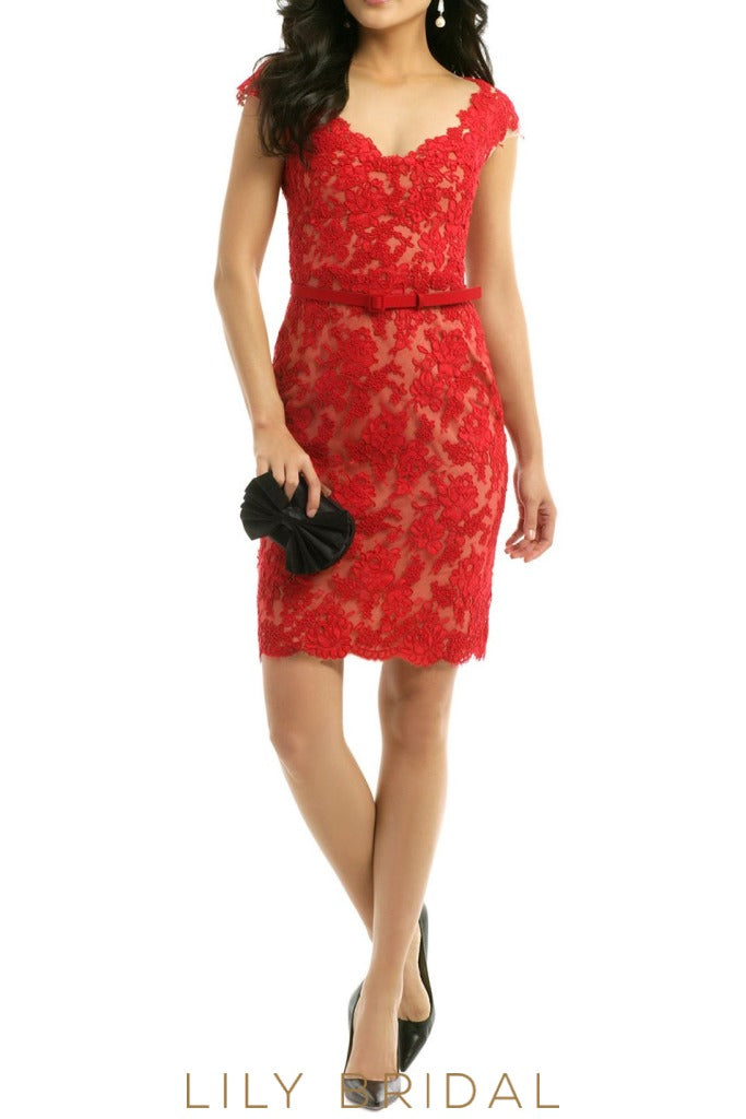 Red Sheath Floral Lace Cap Sleeves Short Length Bridesmaid Dress