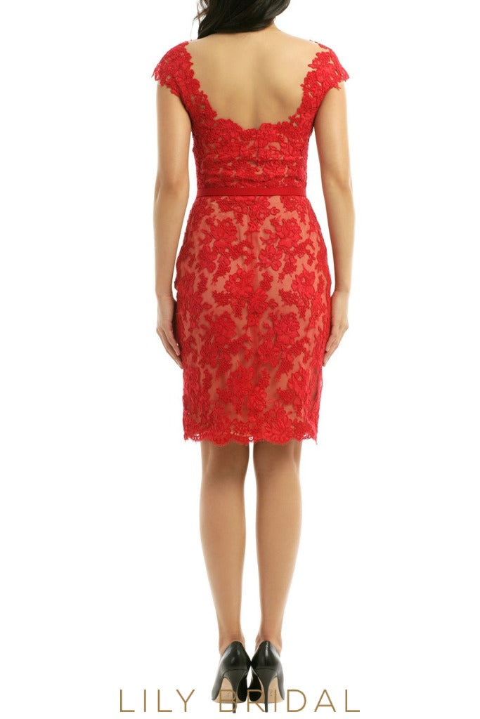 Red Floral Lace Cap Sleeves Short Length Bridesmaid Dress
