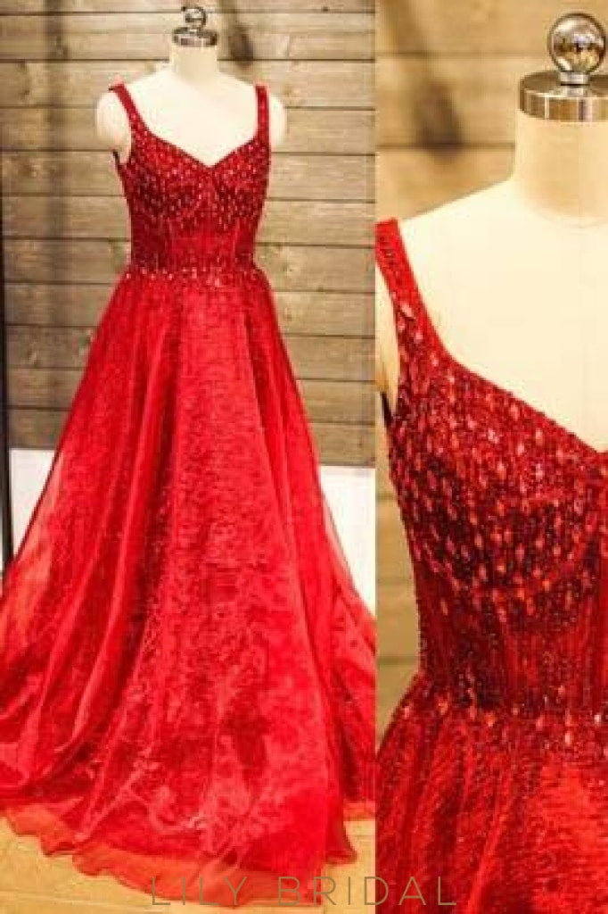 Red Strap Long Organza Prom Dress With Beads