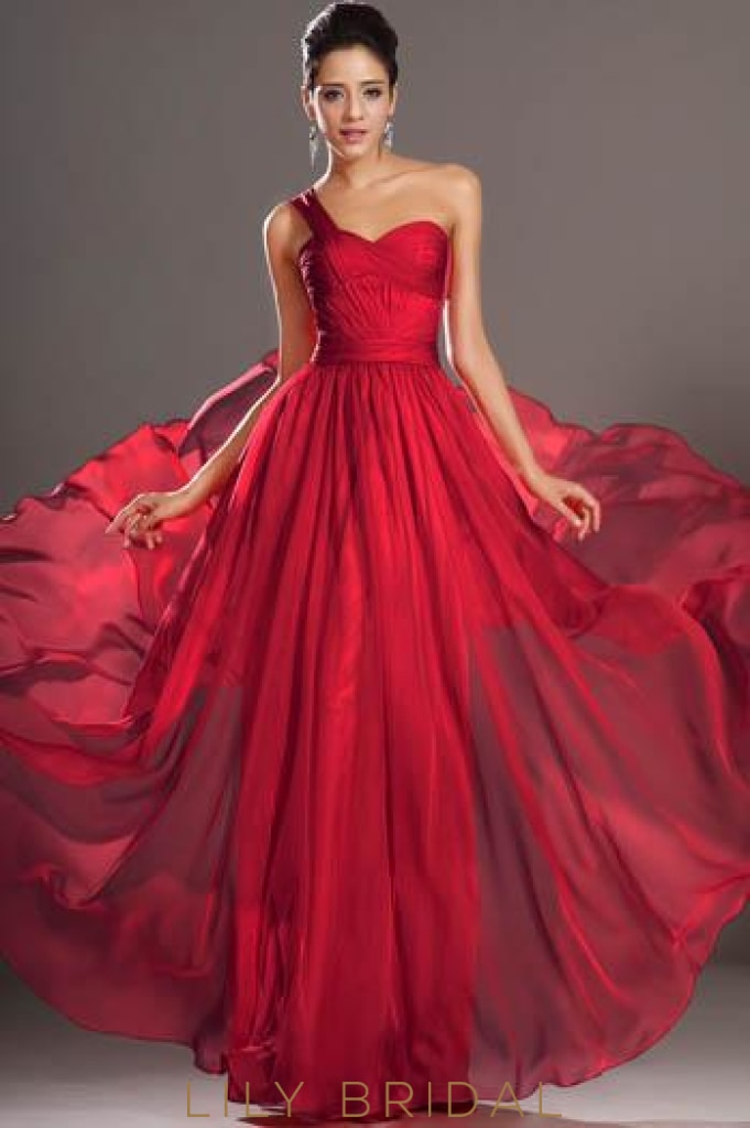 Red Sweetheart One-Shoulder Floor-Length Formal Evening Dress With Lace