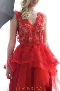 Red Tulle Lace Sheer Deep V-Neck Ball Gown Sleeveless Gowns Prom Dresses