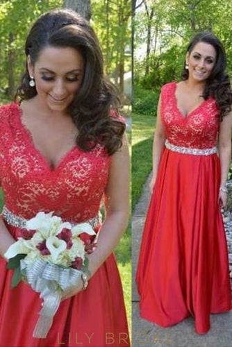 Red V-Neck Sleeveless Floor-Length Satin Bridal Dress With Lace Bodice