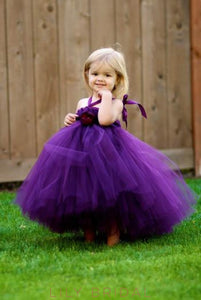 Regency Backless Halter Floor-Length Tulle Flower Girl Dress