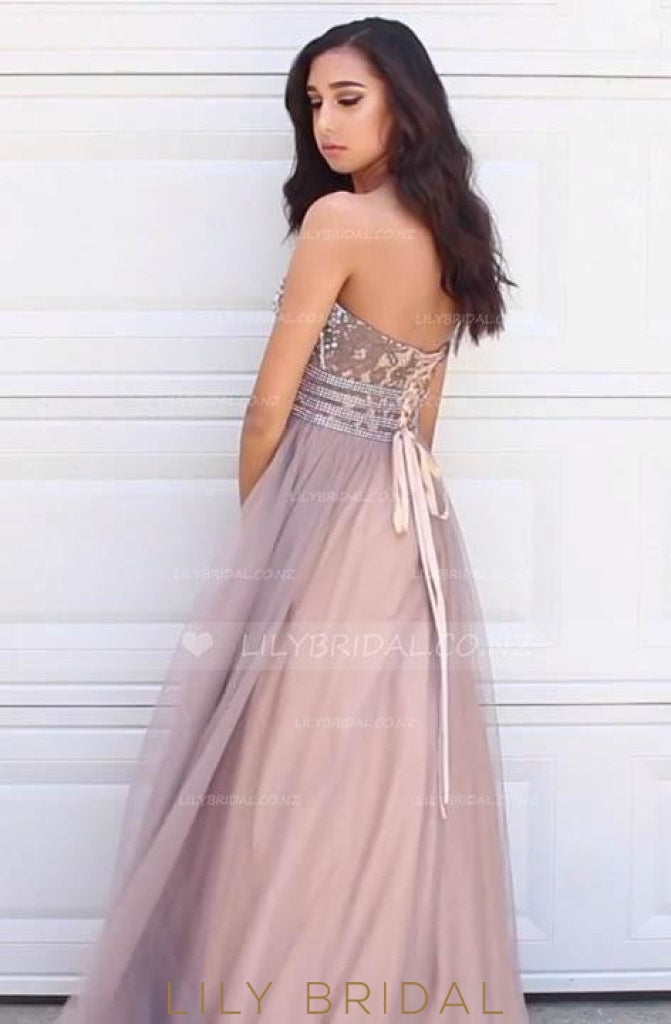 Rhinestone Beaded Sweetheart Lace-Up Back Empire Waist Princess Tulle Prom Dress With Lace