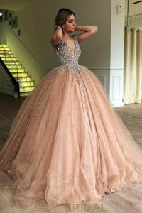 Rhinestone Beading Deep V-Neck Sleeveless Long Ball Gown Tulle Evening Dress