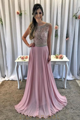 Luxury Rhinestone Beading Illusion Scoop Sleeveless Zipper-Up Long Prom Dress