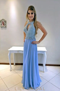 Rhinestone Beading Key-Hole Jewel Neck Sleeveless Backless Long Sheath Chiffon Prom Dress