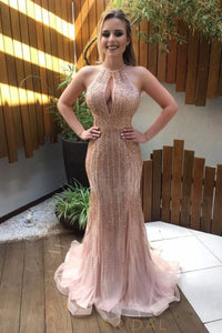 Rhinestone Beading Key-Hole Jewel Neck Sleeveless Open Back Long Mermaid Prom Dress