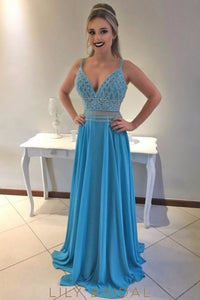 Rhinestone Beading Spaghetti Straps Sleeveless Zipper-Up Long Chiffon Prom Dress