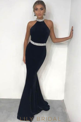 Luxury Rhinestone High Neck Sleeveless Long Solid Stretch Mermaid Evening Dress
