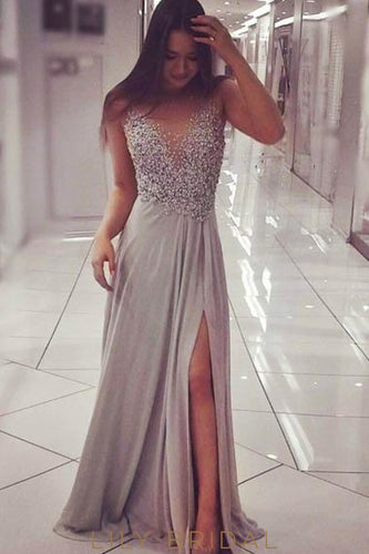 Rhinestone Illusion Sheer Neck Sleeveless Long Slit Evening Dress with Sweep Train