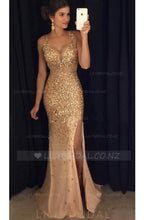 Chic Rhinestone Illusion Straps Sleeveless Floor-Length Split Sheath Prom Dress