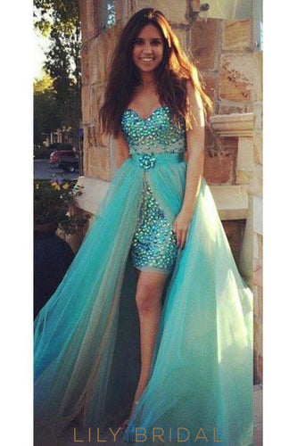 Luxury Rhinestone Illusion Sweetheart Sleeveless Floor-Length Tulle Evening Dress