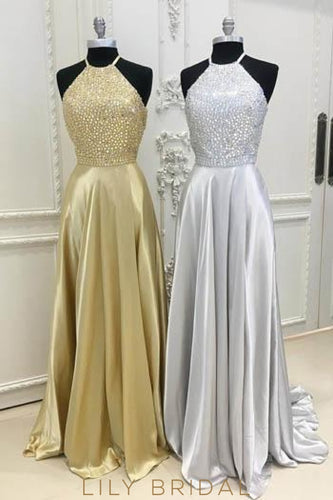 Rhinestone Jewel Neck Sleeveless Open Back Long Solid Sheath Evening Dress