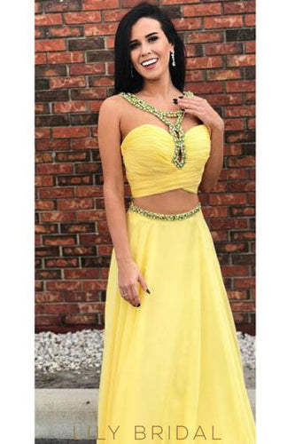 Rhinestone Key-Hole Straps Sleeveless Two Piece Long Solid Ruched Chiffon Prom Dresses