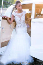 Rhinestone Lace Illusion Bateau Neck Cap Sleeves Backless Mermaid Wedding Gown