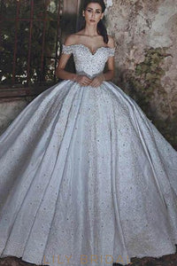Rhinestone Lace Off Shoulder Lace-Up Long Ball Wedding Gown With Sweep Train
