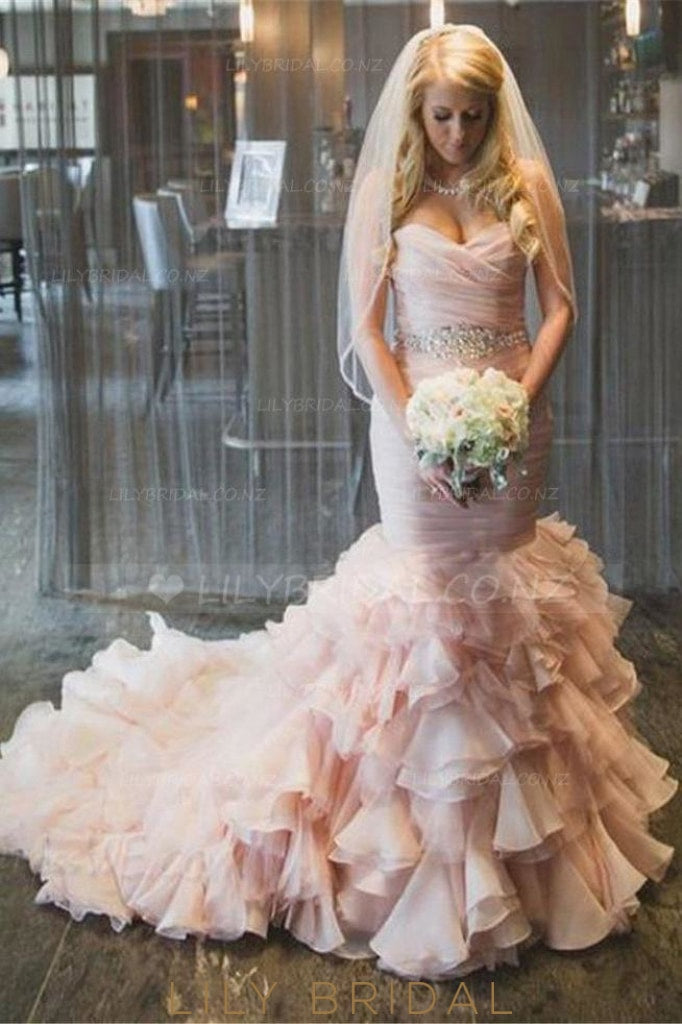 Rhinestone Ruffles Sweetheart Sleeveless Lace-Up Long Ruched Mermaid Wedding Gown