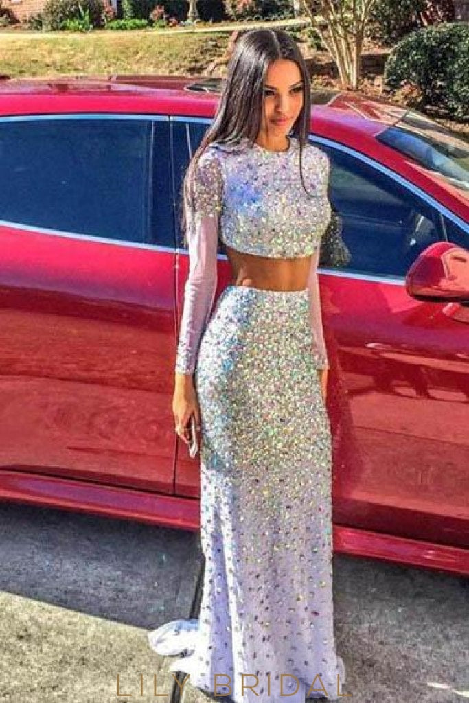 Rhinestone Scoop Neck Long Sleeves Two Piece Long Sheath Evening Dresses