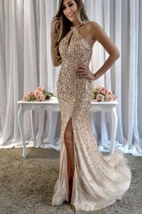 Rhinestone Sequin Beading Key-Hole Jewel Neck Sleeveless Zipper-Up Long Prom Dress