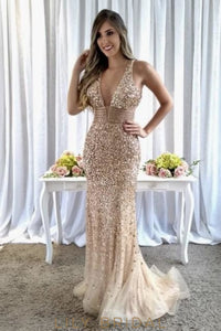 Rhinestone Sequin Beading Plunging Neck Sleeveless Zipper-Up Long Prom Dress