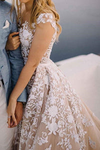 Luxury Applique Illusion Short Sleeves Bridal Gown Long Tulle Wedding Dress