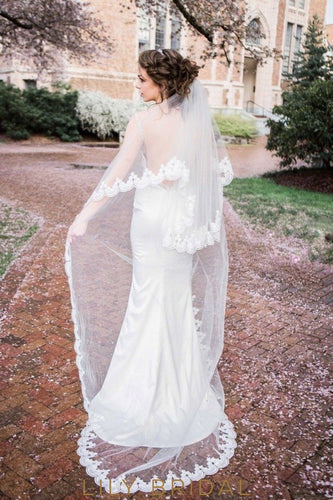 Romantic Two Layer Scalloped Lace Edge Chapel Length Veil