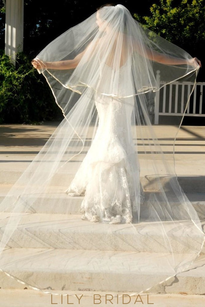 Romantic Two Tier Satin Ribbon Edge Cathedral Wedding Veil